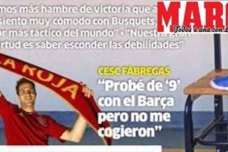 Cesc aparece en la portada de 'Marca' sosteniendo una bufanda de 'La Roja', pero ni rastro de la palabra 'España'