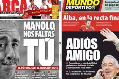 Marca y Mundo Deportivo recuerdan emocionados a Manolo Preciado en su portada, pero AS y Sport colocan su muerte en segundo plano