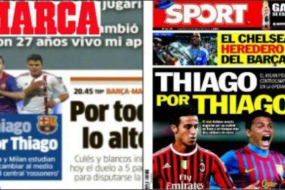 """'Marca' recupera, dos semanas después. una idea de portada en 'Sport': """"Thiago por Thiago"""""""