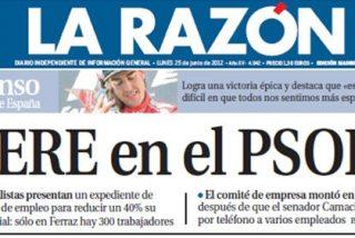 La portada de La Razón del ERE del PSOE... ¿elaborada por una asesora de Fátima Bañez?
