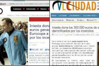 Melchor Miralles (ABC Radio) y 'El Norte de Castilla' (Vocento) entre otros, se comen el bulo del donativo de Andrés Iniesta