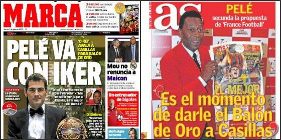 """'Marca' y 'AS' se pisan con Pelé alabando a Iker Casillas: """"Es el momento para darle el Balón de Oro"""""""
