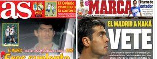 "La prensa deportiva madrileña 'empuja' a Kaká a salir del Real Madrid: ""Vete"""