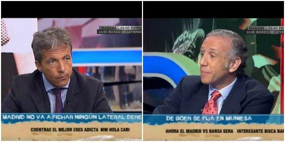 """Cristóbal Soria y Eduardo Inda chocan en 'Futboleros' a base de faltarse: """"Señor culé"""" y """"periodista de bufanda"""", respectivamente"""
