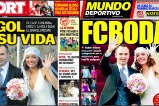 """'Sport' y 'Mundo Deportivo' se pasan al rosa volcándose con la boda de Iniesta: """"El gol de su vida"""""""