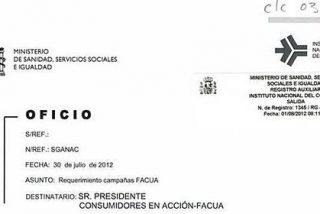 Sanidad dice que no ha amenazado a Facua, solo le ha recordado la legalidad