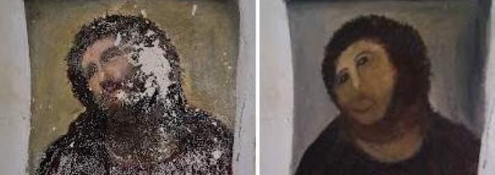 """Una anciana, responsable de la """"restauración-chapuza"""" del fresco de la iglesia de Borja"""