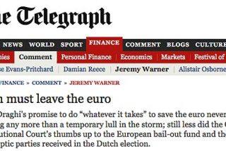 """'The Telegraph': """"Rajoy es un muerto viviente y España debe salir el euro"""""""