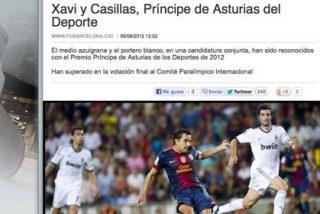 La web del FC Barcelona no se olvida de la rivalidad ni el día que Casillas y Xavi ganan conjuntamente el 'Príncipe de Asturias'