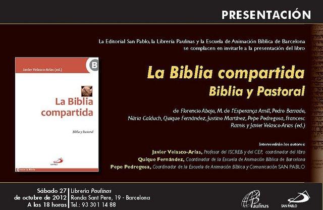 """Presentación de la """"Biblia compartida"""" en Barcelona"""