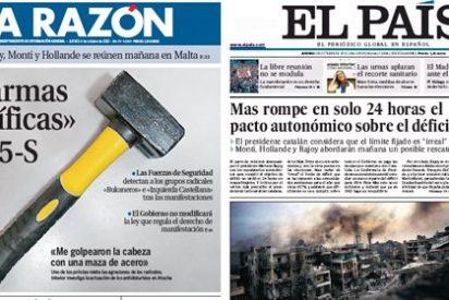 La Razón presenta en portada al gran enemigo de España: ¡¡¡una maza!!!