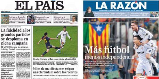 El País ve tan normal el numerito independentista en el Camp Nou que ni lo menciona en su portada
