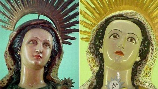 """Restauran una imagen de Santa Bárbara y se transforma en """"Barbie"""""""