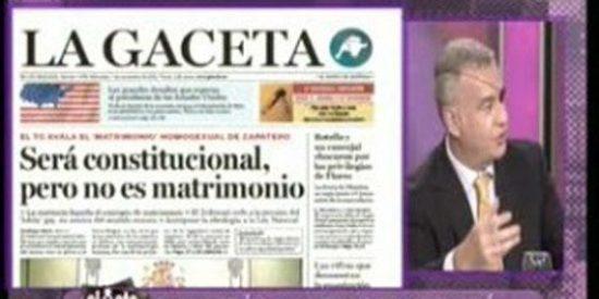 """La Gaceta incendia Twitter: """"Será constitucional, pero no es matrimonio"""""""