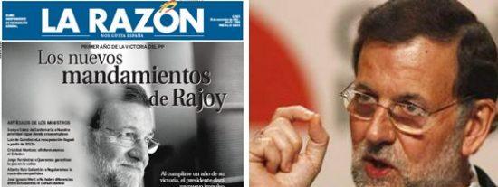 La Razón 'endiosa' a Rajoy a un día del primer aniversario de su victoria