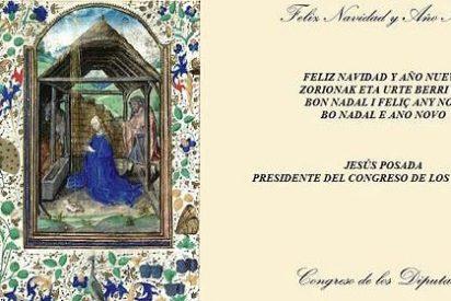 La izquierda riñe al presidente del Congreso por felicitarles la Navidad con una imagen del Belén