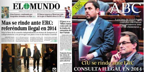 ABC y El Mundo coinciden: CiU se rinde a ERC con el referéndum ilegal