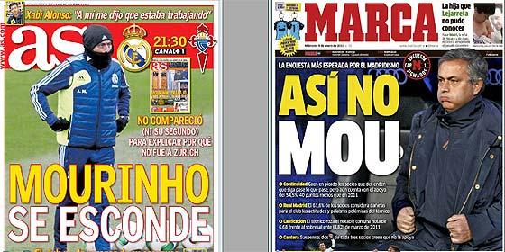 'AS' y 'Marca' se confabulan para poner a Mourinho en el punto de mira