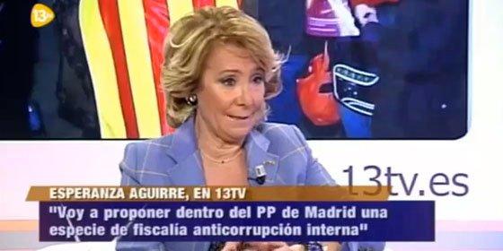 """Esperanza Aguirre: """"Parece sorprendente que en el PP sólo Bárcenas estuviera al tanto del dinero en Suiza"""""""