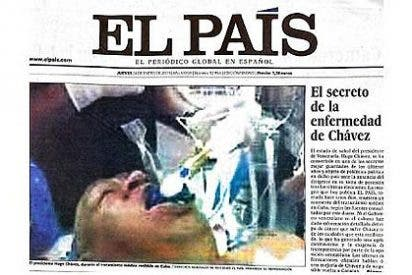 La pifia de la falsa foto de Hugo Chávez le ha costado al diario 'El País' unos 300.000 euros