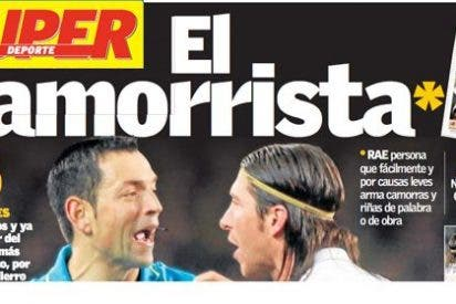 """El diario valenciano 'Superdeporte' llama """"camorrista"""" a Sergio Ramos en su portada"""