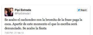 """Pipi Estrada amenaza con denunciar a quien haga bromas con """"la frase de la coca"""""""