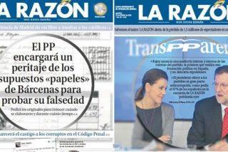 """La Razón sigue el argumentario del PP a rajatabla: los """"supuestos"""" papeles de Bárcenas son falsos"""