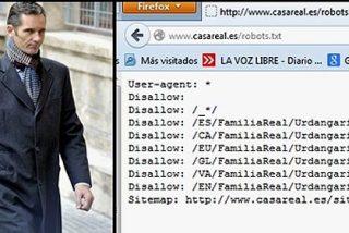 La web de la Casa Real impide que Google encuentre a Iñaki Urdangarin