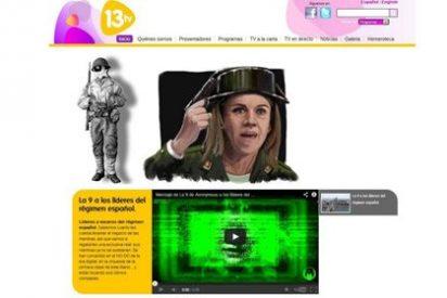 Anonymous ataca la web de 13 TV con un 'mensaje a los líderes del régimen español'
