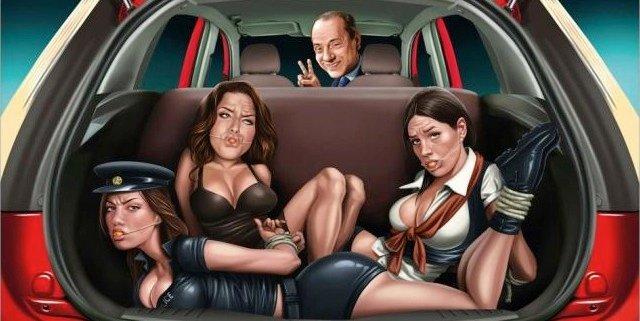 Berlusconi amordaza a tres pechugonas amantes y las mete en el maletero en un anuncio del Ford Figo