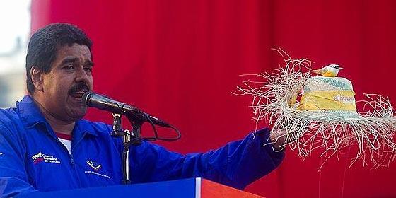 Maduro hace campaña con un sombrero de paja sobre el que hay un 'pajarito'