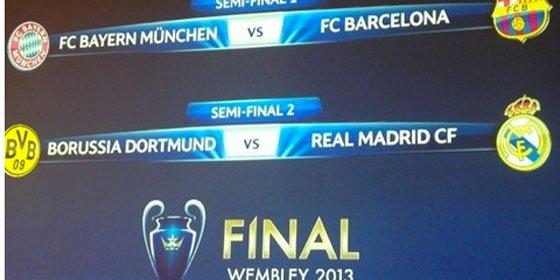 Borussia-Real Madrid y Bayern-Barcelona, semifinales de la Champions League