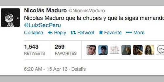 """Piratean la cuenta de Nicolás Maduro en Twitter: """"Se la chupo a Obama"""""""