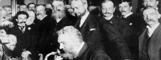 Ya podemos oír la voz de Graham Bell en un disco de cartón que grabó en 1885