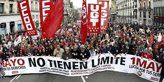 La manifestación del '1 de Mayo' congregó en Madrid a sólo 50.000 personas