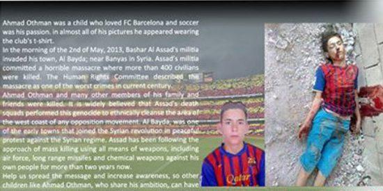 El niño sirio vistiendo la camiseta del Barça se convierte en trágico icono de la guerra