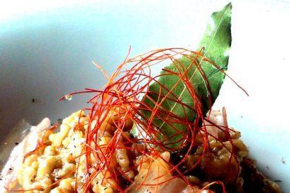 Arroz cremoso de panceta curada de Sierra de Monfragüe: una creación de Pablo Vicente Rivero del Hotel Rural Restaurante Peña del Alba