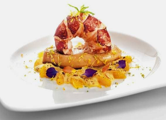 "Receta original Rougié: ""Bogavante azul y escalope de Foie gras pochado con mousse de cítricos"""