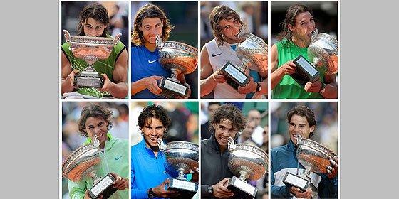 Los ocho Roland Garros de Nadal: el pelo más corto y siempre un mordisco