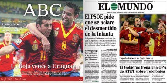 El triunfo de España, única alegría en las portadas de papel