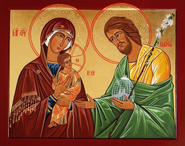 """""""Con María, la Virgen Madre de Dios, su esposo San José, los apóstoles y..."""""""