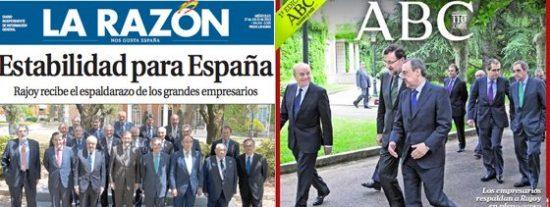 """La reunión de Rajoy con los empresarios, el maná para la prensa de derechas: """"la España de la estabilidad"""""""