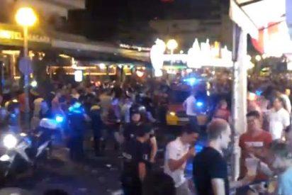En la calle del Jamón de Playa de Palma los turistas neonazis reparten...¡tortas de postre!