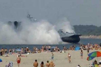 [Video] Un aerodeslizador militar ruso de 550 toneladas 'invade' una playa atestada de turistas
