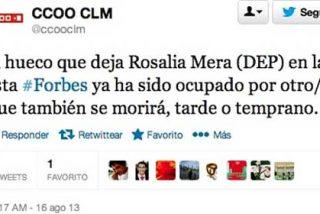 """CCOO 'se luce' en Twitter con Mera: """"El hueco que deja en Forbes ya ha sido ocupado por otro/a que también morirá"""""""