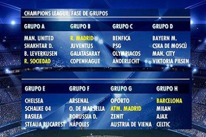 La suerte se alía con Real Madrid, Barcelona, Atlético y Real Sociedad en la Champions 2013-2014