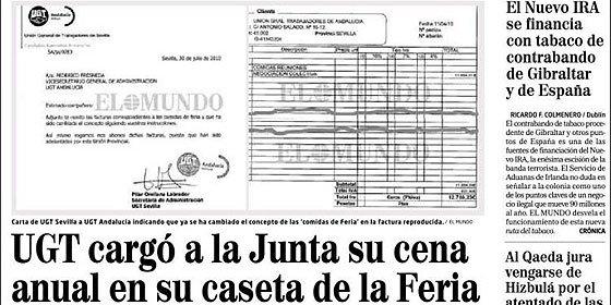 UGT cargó a la Junta una cena de 12.000 euros en la Feria de Sevilla