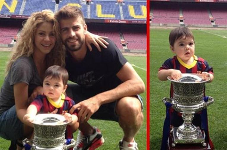 Llega el pequeño 'Milan' al Camp Nou con Piqué y Shakira como embelesados árbitros