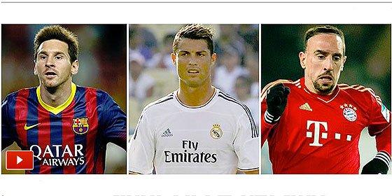 Uno de estos tres será el mejor jugador UEFA del año: Cristiano, Ribéry y Messi