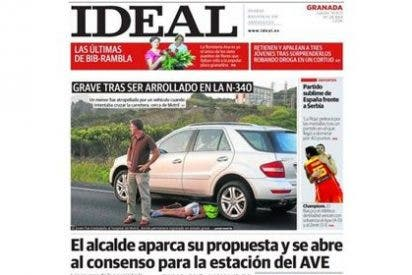 La portada de El Ideal con la foto de un niño atropellado desata la furia de los internautas